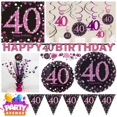 Pink Sparkling Celebration 40th Birthday Party Tableware Decorations Balloons  | eBay