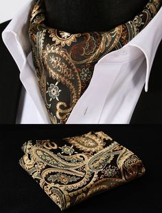 RF401D Gold Orange Paisley Silk Cravat Scarves Ascot Tie Hanky Handkerchief Set #SetSense #Ascot