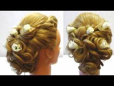 Свадебная прическа с цветами. Wedding hairstyle with flowers for long medium hair. - YouTube