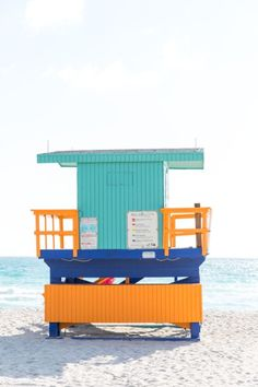 Colorful lifeguard station in Miami, USA.