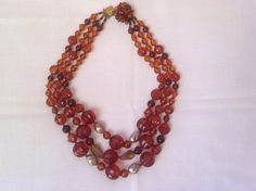 Vintage triple strand beaded necklace / Made in by PureJoyVintage