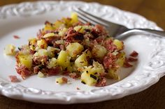 Corned Beef Hash - This couldn't be an easier recipe to throw together. Just chop up a little bit of onion, your leftover corned beef, leftover cooked potatoes and if you do happen to be a fan of cabbage, chop that up and throw it in too!