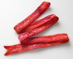 Hot Pink Hand Dyed Artisan Cotton Batik Serged Ribbon by urbanraku