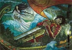 Path to Exile (Friday Night Magic promo) - Rebecca Guay  For this promo card, Guay not only created a beautiful image, she captured both the card's flavor (it removes a creature from the game instead of killing it) and allusions to fantasy stories and folk tales.