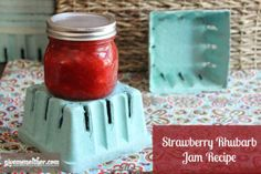 Perfect blend of strawberries and rhubarb in this simple freezer jam. Our favorite!