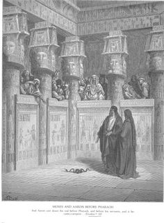 Moses and Aaron appear before Pharoah - Paul Gustave Dore (Bible illustrated)