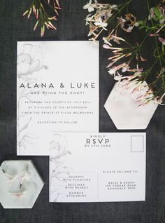 Hand Drawn Peony Wedding Invitation and RSVP by PaperAndStyleCo