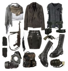 """""""Post apocalyptic"""" by vervainn ❤ liked on Polyvore featuring Anthony Vaccarello, Skingraft, Alexander Wang, Ann Demeulemeester, GAS Jeans, Roxy, UZI, Cutuli Cult, Topshop and military"""