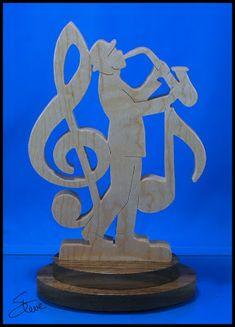 Saxophone Art Sculpture Scroll Saw Pattern. - Saxophone Art Sculpture Scroll Saw Pattern. Woodworking Workshop, Fine Woodworking, Woodworking Crafts, Scroll Saw Patterns Free, Scroll Pattern, Pattern Art, Wood Burning Patterns, Wood Burning Art, Saxophone