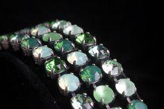 Three row Swarovski crystal bracelet  shades of by wcubeddesigns, $249.00