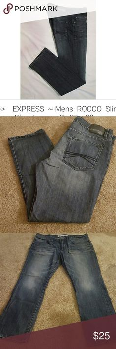 Men's Express Rocco Jeans Blue denim Men's EXPRESS ROCCO Slim fit Skinny leg jeans Express Jeans Skinny