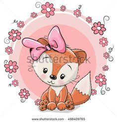 Greeting card cute cartoon fox with flowers