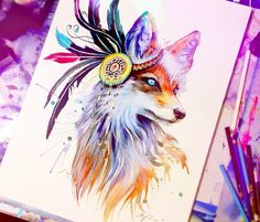 In nature spectrum watercolor painting by Pixie Cold