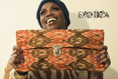 Ikat, clutch, pocketbook, handbag, purse, accessories, pattern, exotic, ethnic, made in NY, prints