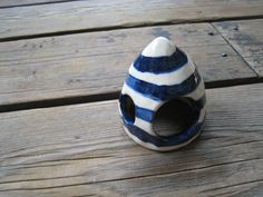 Striped Fish Cave  Navy Blue and White  Ceramics by WhiteCitrus
