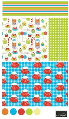 Tea cups, cakes and sweets theme. Surface Pattern Collection by Nadia Khan.