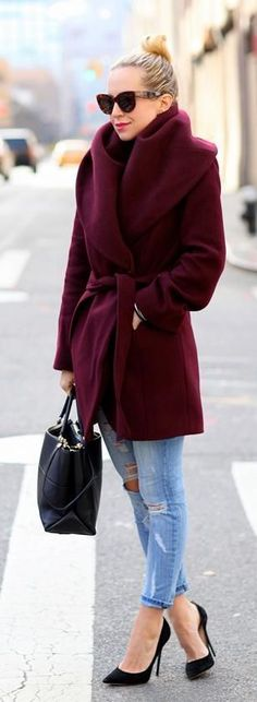That plum toned coat will warm you right up. I love how this style doesn't hide her shape and still gives definition in the right places Find more women fashion on https://www.popmiss.com