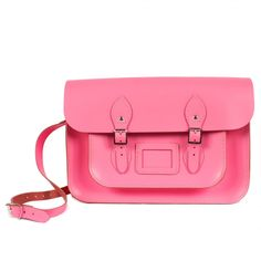 "Bohemia Leather Satchel Bag, 12.5"" Baby Pink :: Bohemia"