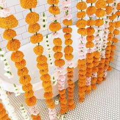 {Yes we do custom shower curtains but crazy beautiful whimsical marigold curtains no - not yet anyways! . Happy Friday friends!. }  via @designlovefest . #abmlifeiscolorful #color #flowers #flowerpower #abmlifeissweet #texture #homedecor #bathroom #bathtub #vintage #bathroomdecor #curtain #bohochic #floral #larsflowers #decor #lifeisbeautiful #flashesofdelight #pursuepretty #marigold #diy #craft #home #interior #bathtub #twitter