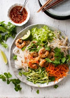 Bright, zesty flavours, incredibly healthy but satisfying! Easy and fast to make, this Vietnamese Noodle Salad with Shrimp (Prawn) recipe is made using a simple, delicious dressing recipe by famous Aussie chef Bill Granger.
