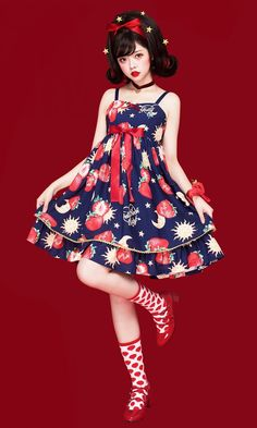 Pretty Rock Baby -Strawberries Floating In The Universe- Sweet Lolita JSK (High Waist Version)
