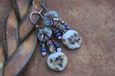 Rustic Casual Robin's Egg Blue  Indigo Blue  earrings by Tribalis