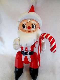 "Vintage vinyl inflatable blow up Santa Claus figure 26"" tall"