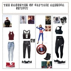"""""""Captain America daughter"""" by guadalupe-pablo ❤ liked on Polyvore featuring NIKE, Everlast, Vans, Miss Selfridge and WithChic"""