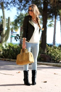 fall outfits womens fashion clothes style apparel clothing closet ideas. brown jacket jeans black boots yellow handbag sunglasses