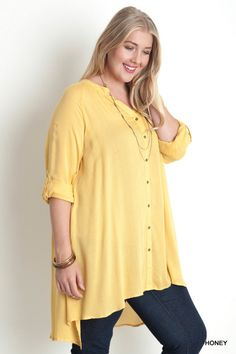 Plus Size Floral Collarless Button Up Shirt