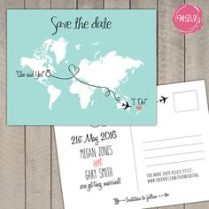 Tell guests about your big day with these travel/destination themed Save the Date postcards. Fully customizable with countries/locations of your