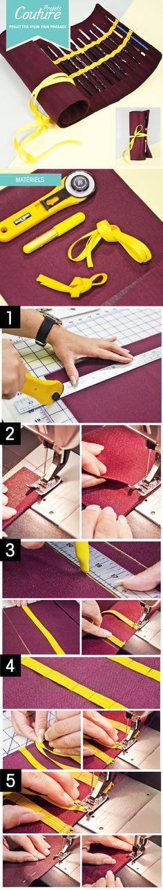 Pas à pas: Venez confectionner un étui de nylon pour vos pinceaux! #couture #DIY #art  http://clubtissus.com/articles-blog/articles-couture/projet-etui-de-nylon-pour-pinceaux