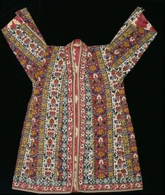 Coat  Uzbekistan (made)  1850-1900 (made)  Cotton, embroidered with silk and lined with silk ikat