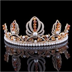 FUMUD 2 1/2 inch Height Gold Plated Champagn Bead &Faux Pearls Princess Queen Tiaras Crown