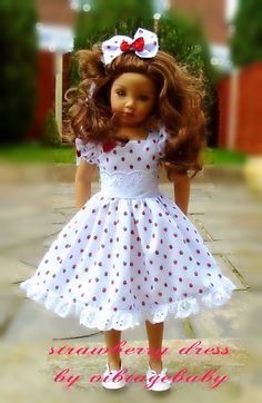 Dress hair bow for Dianna Effner Maru friends 20 doll By Vintagebaby American Girl Clothes, Girl Doll Clothes, Girl Dolls, Pretty Dolls, Cute Dolls, Beautiful Dolls, Girl Dress Patterns, Doll Clothes Patterns, Porcelain Doll Costume