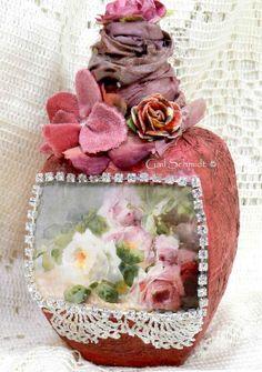 Altered Art Bottle, Decorative Bottle Roses and Rhinestones Art Bottle