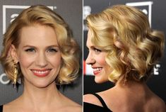 January Jones' Wavy Bob  January Jones dressed up her classic bob by adding soft waves (and a few pink streaks). To recreate her look, begin with smooth tresses. Blow out towel-dried hair using a large round brush to ensure a sleek texture and also to bend hair ends under. Next, wrap one and two-inch sections of hair around a medium-barreled curling iron.  After all the hair has been curled, part hair off to the side and run fingers through curls to break them up. To finish the style, mist…