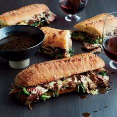 Chef Corey Lee's French Dip with Onion Jus uses fresh spinach that adds to the juicy beef.