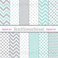 Baby Mint Grey Digital Paper Gray Scrapbook Background - polka dot chevron patterns aqua gray boy scrapbooking 12x12 by StarFlowerStreetDA
