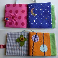 Matériel pour le livre d'éveil en tissu : * 10 carrés de 14/14cm (coutures comprises) * Bouton pression, bouton, tissus thermocollants,...