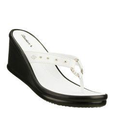 efa2187c0e2d Skechers White   Black Kitty Wedge