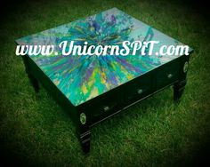 Coffee table Base done with homemade chalk paint Top done with Unicorn SPiT over metallic gold spray paint