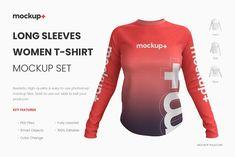 Long Sleeves Women T-Shirt Mockup Magazine Design, Tshirt Mockup Free, Design Poster, Design Art, Graphic Design, T Shirt Image, Clothing Photography, Blank T Shirts, Business Card Mock Up