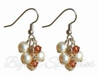 Champagne and Pearl Earrings by Bijoux Sparkles