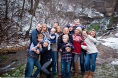 Fun winter family photography, family photo inspiration, what to wear for large family photos, silly family photos.