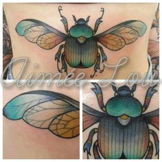 Tattoo of Scarab Beetle by Aimee Lou, Guildford, UK