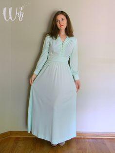Mint Maxi Dress / Vintage 70's Mint Green / Creme de Menthe. $45.00, via Etsy.
