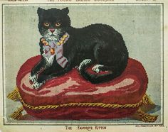 The Favorite Kitten, woolwork pattern from The Young Ladies' Journal, 1867.