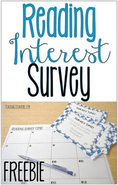 Engaging Reading Interest Survey Activity {Free}