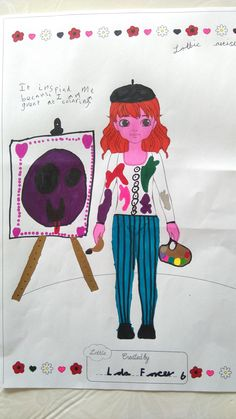 """Lottie Outfit Design! Hello, Lola (age 6).""""She has always said she wanted to be an artist when she grows up (and live on a boat with a Dalmatian dog, and be a part time chocolate maker as well!) and she would love to see an Artist Lottie with an easel, paintbrush, paint pallet, béret (Lola is half French!) and paint stained white coat."""" From Mum, Charlotte  - Birmingham."""